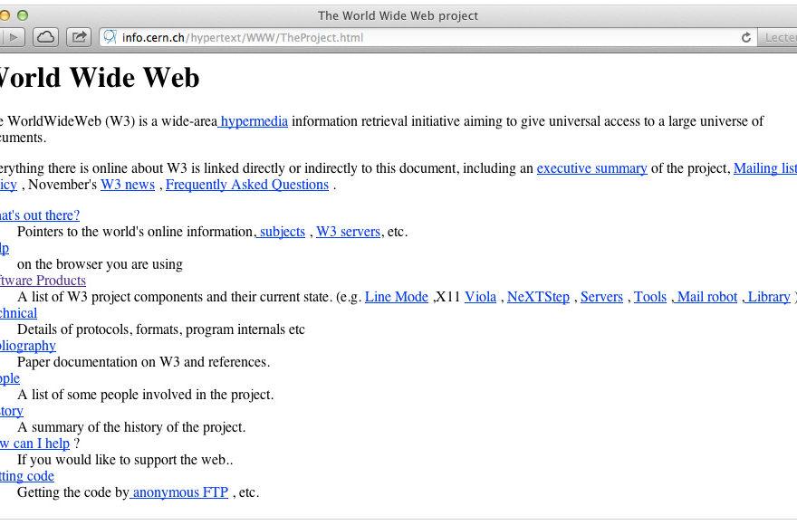 Page écran du premier site Web