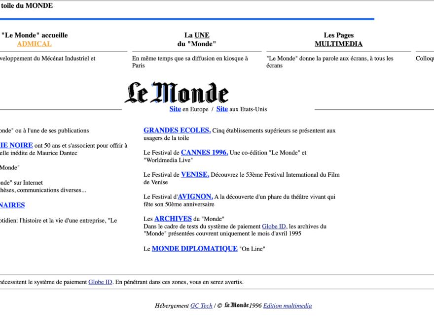 Homepage du Monde.fr du 19 octobre 1996