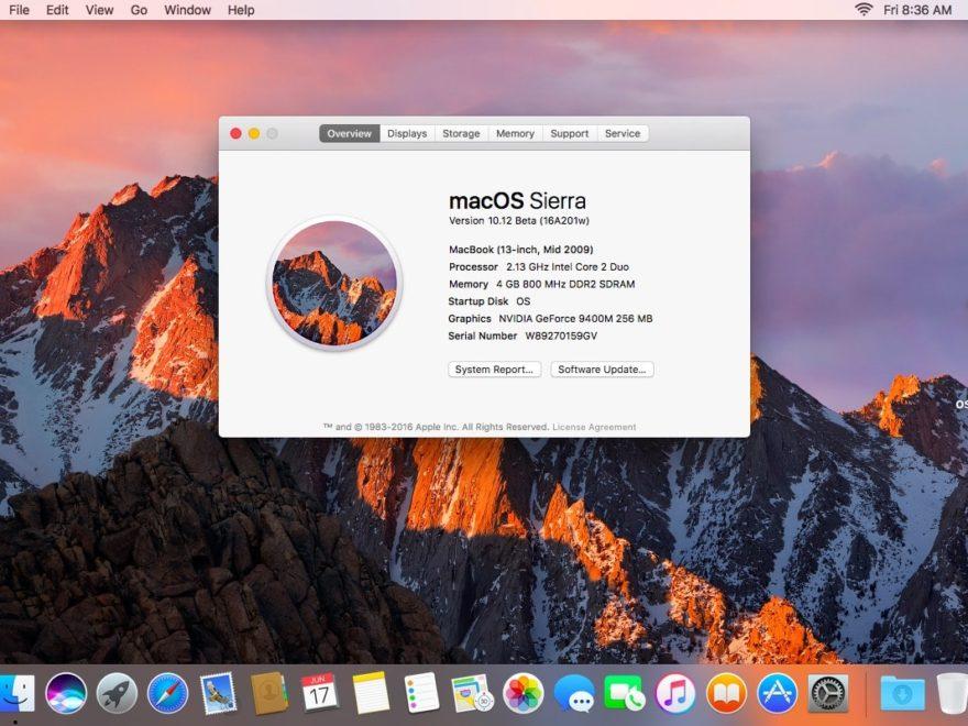Copie d'écran macOS Sierra